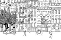 Folk i NYC royaltyfri illustrationer