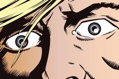 Folk i retro stil Ögonen av en skrämd man stock illustrationer