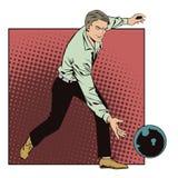 Folk i retro stilpopkonst och tappningadvertizing Mankastboll i bowling Arkivfoton