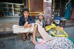 Folk i Sana'a, Yemen Royaltyfria Bilder