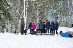 Folk i skog på vintertid fotografering för bildbyråer
