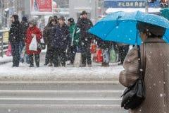 Folk i snöstorm Royaltyfri Bild