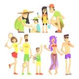 Folk i sommaruppsättning Arkivbild
