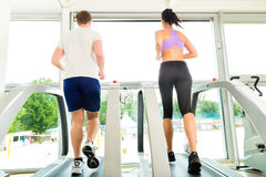 Folk i sportidrottshall på treadmillspring Royaltyfri Bild