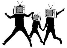 Folk i stället för head TV, kontur Propaganda fejkar nyheterna Man av levande död Informationskrig royaltyfri illustrationer