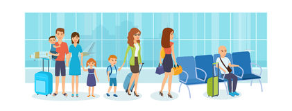 Folk i turist- tur, i väntande rum på flygplatsen stock illustrationer