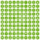100 folk icons hexagon green. 100 folk icons set in green hexagon isolated vector illustration Stock Photos
