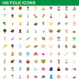 100 folk icons set, cartoon style. 100 folk icons set in cartoon style for any design vector illustration Royalty Free Stock Photos