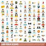 100 folk icons set, flat style Royalty Free Stock Images
