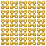 100 folk icons set gold. 100 folk icons set in gold circle isolated on white vectr illustration stock illustration