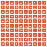 100 folk icons set grunge orange. 100 folk icons set in grunge style orange color isolated on white background vector illustration stock illustration