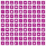 100 folk icons set grunge pink. 100 folk icons set in grunge style pink color isolated on white background vector illustration Royalty Free Stock Image