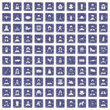 100 folk icons set grunge sapphire. 100 folk icons set in grunge style sapphire color isolated on white background vector illustration royalty free illustration