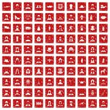 100 folk icons set grunge red. 100 folk icons set in grunge style red color isolated on white background vector illustration vector illustration