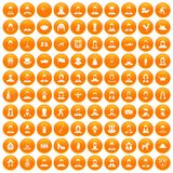 100 folk icons set orange Stock Image