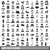 100 folk icons set, simple style. 100 folk icons set in simple style for any design vector illustration Royalty Free Stock Images