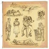 Folk infödingar En hand dragen vektorpacke Royaltyfria Foton