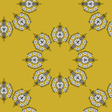 Folk inspired wallpaper with flower shapes gold Stock Photography