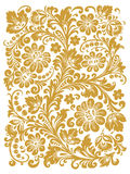 Folk Khokhloma. Ornament in style of Russian national tradition. Traditional Russian ornament with elements of folk Khokhloma style. A floral print in gold Royalty Free Stock Image
