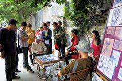 Folk konstnär i den Kuan gränden av Chengdu Arkivfoto