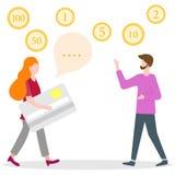 Folk kontokort, manlig assistent Finans bank royaltyfri illustrationer