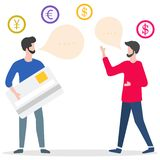Folk kontokort, manlig assistent Finans bank vektor illustrationer