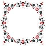 Folk Label Eight. Polish traditional folk pattern - ornamental flower  label Royalty Free Stock Photo