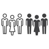 Folk, laglinje och fast symbol vektor illustrationer