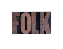 Folk in letterpress wood type Stock Photo