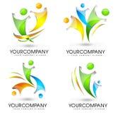 Folk Logo Set stock illustrationer