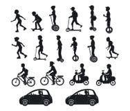 Folk, män och kvinnor som rider moderna elektriska sparkcyklar, bilar, cyklar, skateboarder som är segway, hoverboard royaltyfri illustrationer