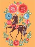 Folk målning för Gorodets häst Royaltyfri Fotografi