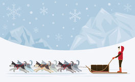 Folk med arktisk hundkapplöpning som Sledding, isbergbakgrund Stock Illustrationer