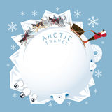 Folk med arktisk hundkapplöpning som Sledding, rund ram Royaltyfri Illustrationer