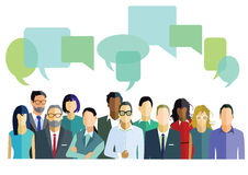 Folk med dialogbubblor Arkivfoton