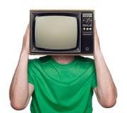 Folk med en TV Royaltyfri Bild