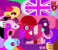 Folk med flaggan av Förenade kungariket vektor illustrationer