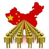 Folk med illustrationen för Kina översiktsflagga Fotografering för Bildbyråer