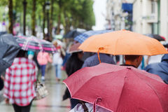 Folk med regnparaplyer i den regniga staden Arkivfoto