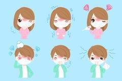Folk med sjukt vektor illustrationer