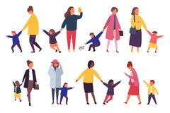 Folk med ungar Upptagna föräldrar med stygga barn också vektor för coreldrawillustration royaltyfri illustrationer