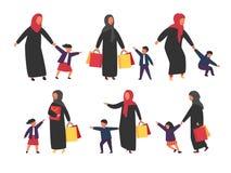 Folk med ungar Upptagna föräldrar med stygga barn också vektor för coreldrawillustration stock illustrationer