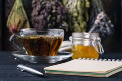 Folk medicine with honey and healing herbs concept Royalty Free Stock Photo