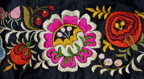 The folk moravian embroidery. The detail old moravian  folk costume of Kyjov Royalty Free Stock Images