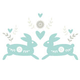 Folk Motif with Rabbits Royalty Free Stock Images