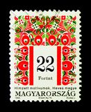 Folk motives of Heves County, Hungarian Folk Art serie, circa 19. MOSCOW, RUSSIA - NOVEMBER 26, 2017: A stamp printed in Hungary shows Folk motives of Heves Royalty Free Stock Image