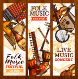 Folk music banner with ethnic musical instrument Stock Images