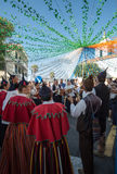 Folk music group in local costumes performs  a folk dance at Madeira Wine Festival in Esterito de Camara de Lobos on the Madeira, Stock Image