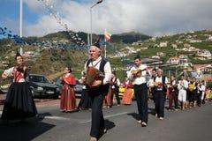 Folk music group in local costumes performs  a folk dance at Madeira Wine Festival in Esterito de Camara de Lobos on the Madeira, Stock Image