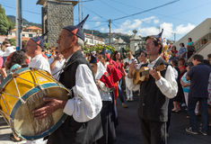 Folk music group in local costumes performs  a folk dance at Madeira Wine Festival in Esterito de Camara de Lobos on the Madeira, Royalty Free Stock Photos